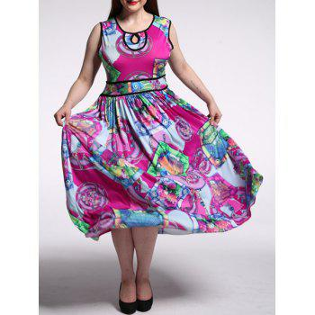 Plus Size Abstract Print High Waist Dress