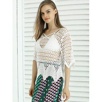 Sweet Wave Hem Lace Crochet See-Through Cover Up - WHITE ONE SIZE