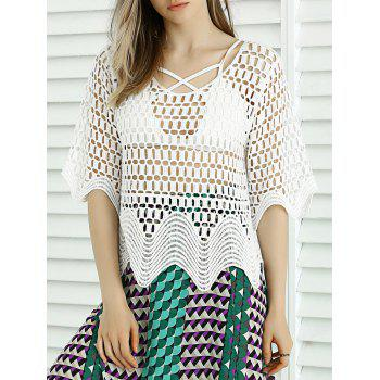 Buy Sweet Wave Hem Lace Crochet See-Through Cover WHITE