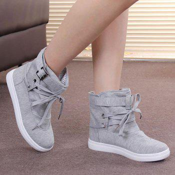Buckle Strap Cloth Short Boots