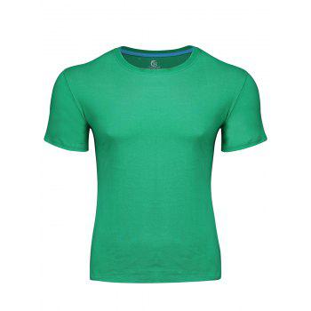 Simple Style Pure Color Round Neck Slim-Fit Short Sleeve T-Shirt For Men