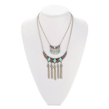 Retro Faux Turquoise Embossed Geometric Fringe Necklace