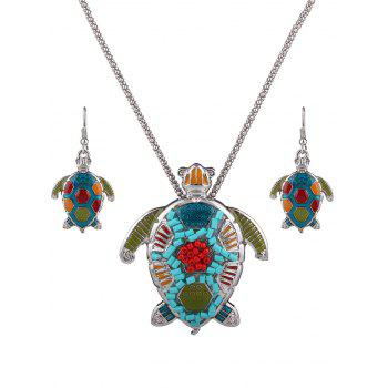 Multicolor Beads Turtle Necklace Set