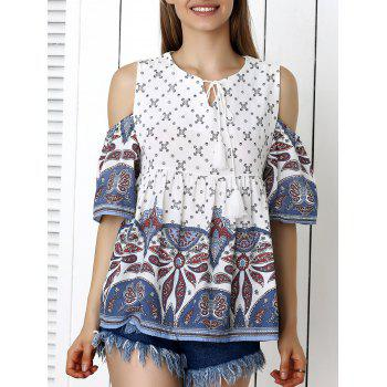 Buy Bohemian Cold Shoulder Paisley Print Blouse WHITE