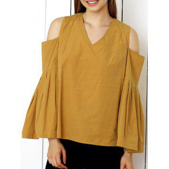 Cute Cold Shoulder Bell Sleeve Blouse