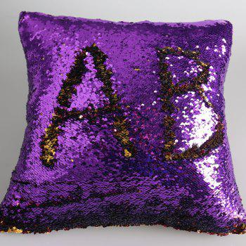 Buy DIY Pattern Two Tone Bling Sequins Pillow Case PURPLE