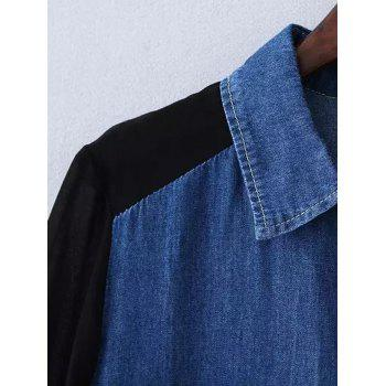 Plus Size Chiffon Sleeve Long Denim Tunic Shirt - DEEP BLUE 2XL