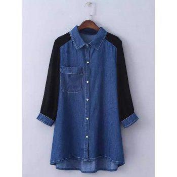 Plus Size Chiffon Sleeve Long Denim Tunic Shirt - DEEP BLUE L