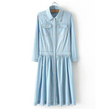 Plus Size Long Sleeve Denim Shirt Dress