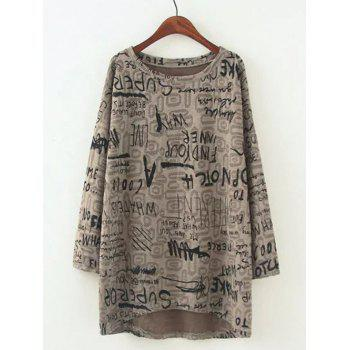Plus Size Casual Letter Pattern Baggy Blouse - LIGHT KHAKI LIGHT KHAKI