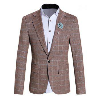 Classic Lapel Collar Long Sleeve Checked Blazer For Men