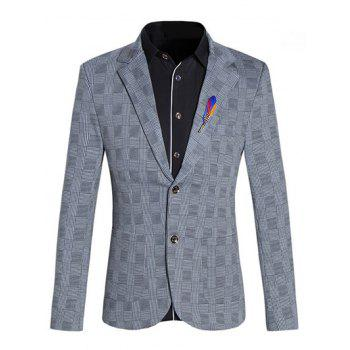 Lapel Collar Long Sleeves Checked Blazer For Men