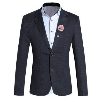 Brief Pure Color Lapel Collar Long Sleeve Slim-Fit Blazer For Men
