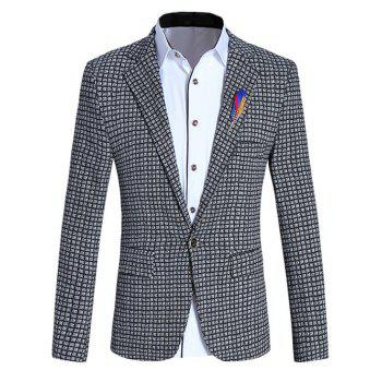 Lapel Collar Long Sleeve Slim-Fit Checked Blazer For Men