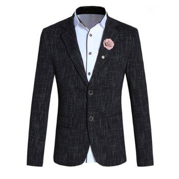 Chic Lines Design Lapel Collar Long Sleeve Blazer For Men