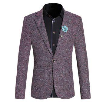 Chic Texture Design Lapel Collar Long Sleeves Red Melange Blazer For Men