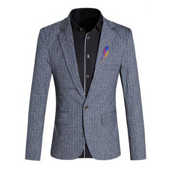 Chic Texture Design Lapel Collar Long Sleeves Gray Blazer For Men