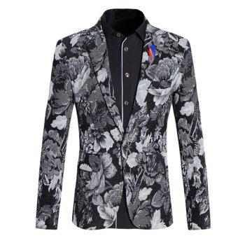 Vintage Flower Print Lapel Collar Long Sleeves Blazer For Men