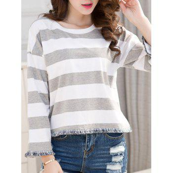 Striped Frayed Hem T-Shirt