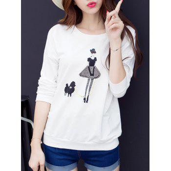 Girl Print Drop Shoulder T-Shirt