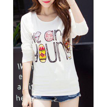 Funny Print Drop Shoulder T-Shirt - WHITE WHITE