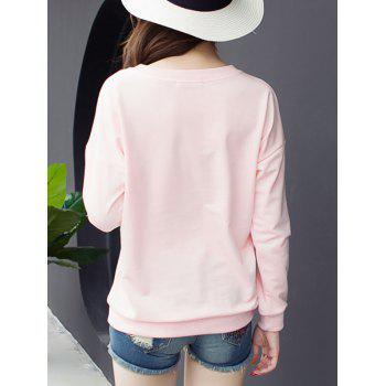 Drop Shoulder Printed T-Shirt - PINK PINK