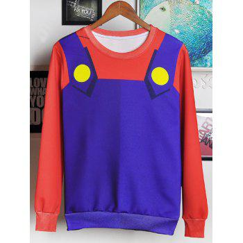 Round Neck Long Sleeve 3D Cartoon Costume Print Men's Sweatshirt