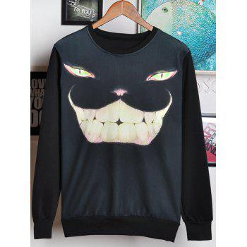 Round Neck Long Sleeve 3D Cat Face Print Men's Sweatshirt