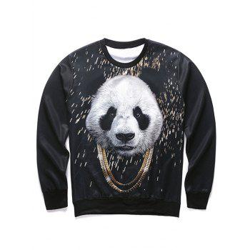 Round Neck Long Sleeve 3D Panda and Gold Chain Print Men's Sweatshirt