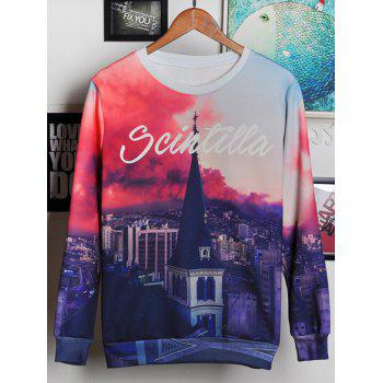 Round Neck Long Sleeve 3D Bell Tower and Letters Print Men's Sweatshirt