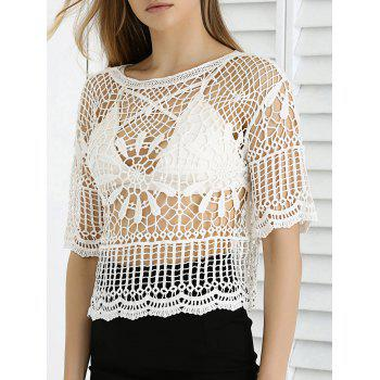 Buy Sweet Lace Crochet See-Through Cropped Cover WHITE