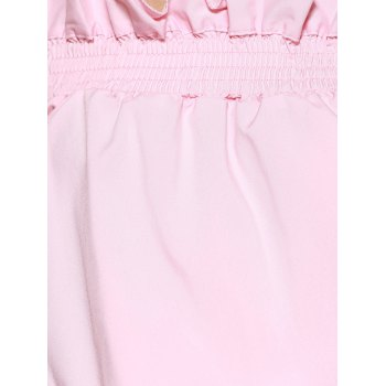 Pure Color Off The Shoulder Ruffle Sleeve Blouse - LIGHT PINK XL
