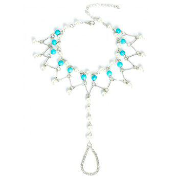 Graceful Faux Turquoise Wedding Jewelry Beaded Anklets - SILVER