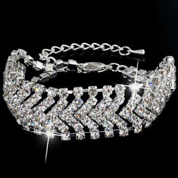 Rhinestone Cut Out V Shaped Bracelet