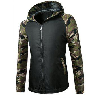 Fashionable Camo Spliced Hooded Zipper Flying Long Sleeve Jacket For Men