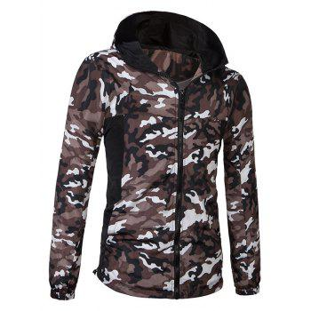 Fashionable Camo Bomber Hooded Zipper Flying Long Sleeve Jacket For Men