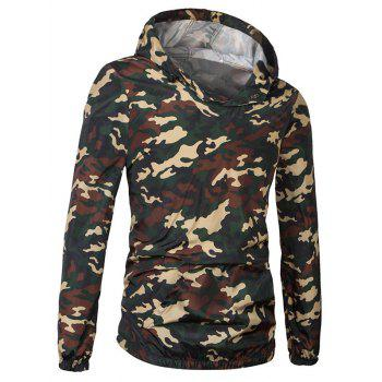 Fashionable Camo Bomber Hooded Pullover Long Sleeve Jacket For Men