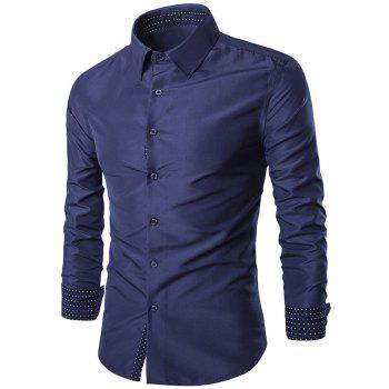 Solid Color Spliced Turn-Down Collar Slim-Fit Long Sleeves Shirt For Men