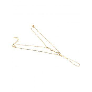 Faux Crystal Beads Toe Ring Anklet - GOLDEN
