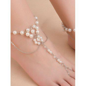 Gorgeous Faux Pearl Wedding Jewelry Anklet - SILVER SILVER