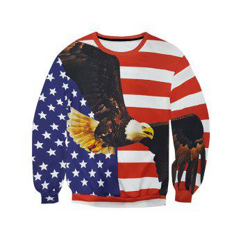 Round Neck Long Sleeve 3D Star and Stripe Eagle Print Men's Sweatshirt