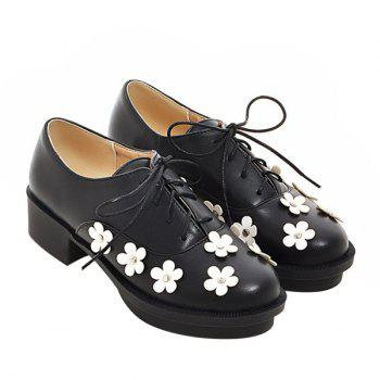 Trendy Lace-Up and Flowers Design Women's Platform Shoes - BLACK 38