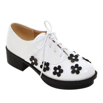 Trendy Lace-Up and Flowers Design Women's Platform Shoes - WHITE WHITE