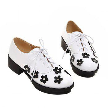 Trendy Lace-Up and Flowers Design Women's Platform Shoes - WHITE 38