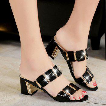 Fashionable Block Heel and Metal Design Women's Slippers