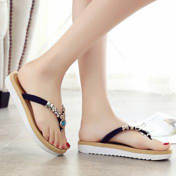 Leisure Suede and Artificial Stone Design Women's Slippers - 38 38