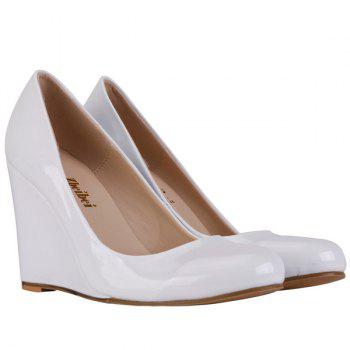 Trendy Round Toe and Patent Leather Design Women's Wedge Shoes - WHITE 42