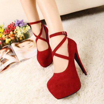 Ankle Strap Platform High Heel Pumps - RED 41