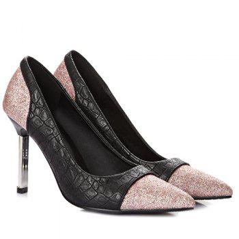 Chic Embossing and Sequined Cloth Design Women's Pumps - PINK 42