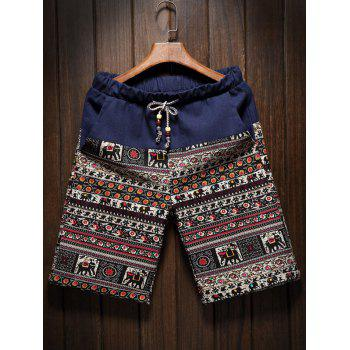 Drawstring Elephant Totem Printed Spliced Men's Cuffed Board Shorts